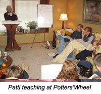 patti teaching at potter's wheel